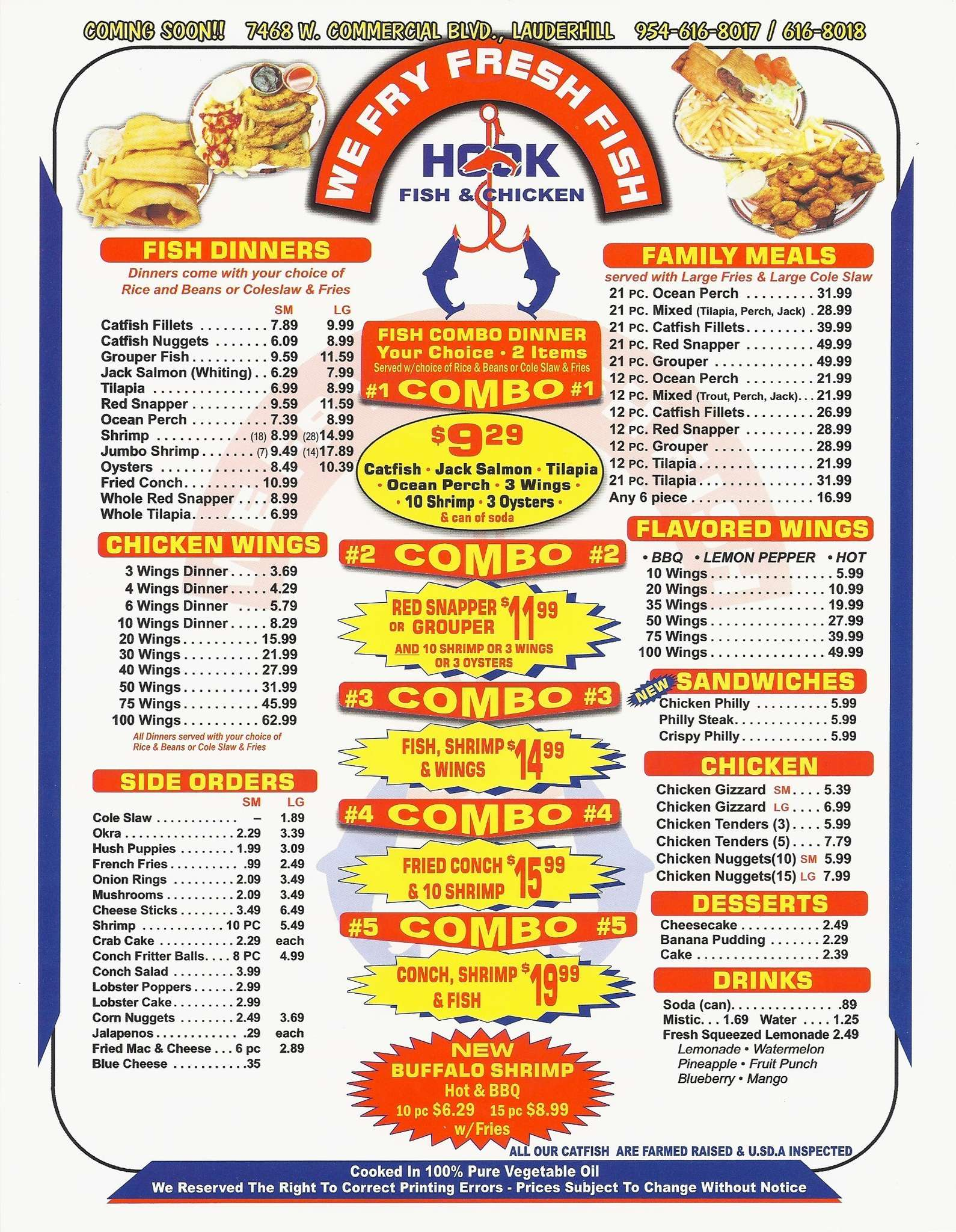Menu at hook fish n chicken restaurant miami gardens for Hook fish and chicken menu