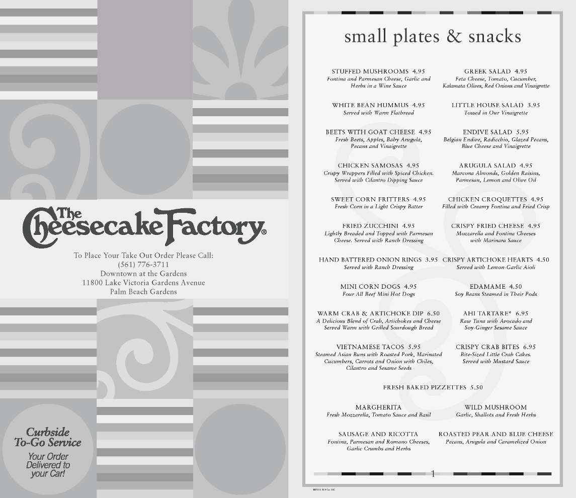 The Cheesecake Factory Menu Menu For The Cheesecake Factory Palm