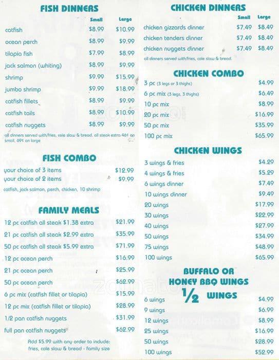 Shark 39 s fish chicken a chicago foto del menu con prezzi for Fish and chicken menu