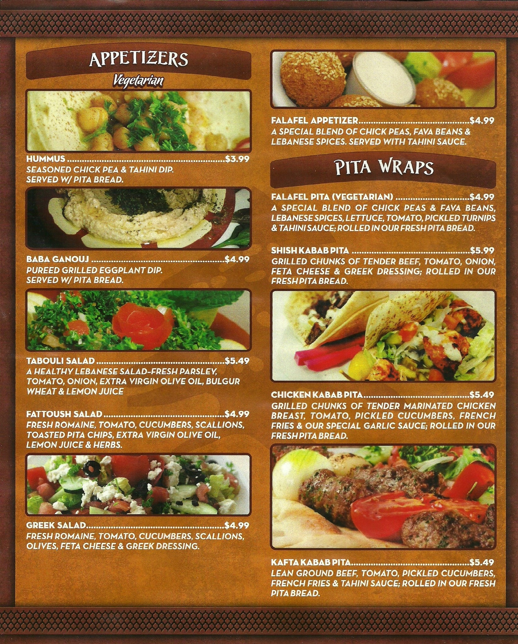 Lebanese food menu for Arabian cuisine menu