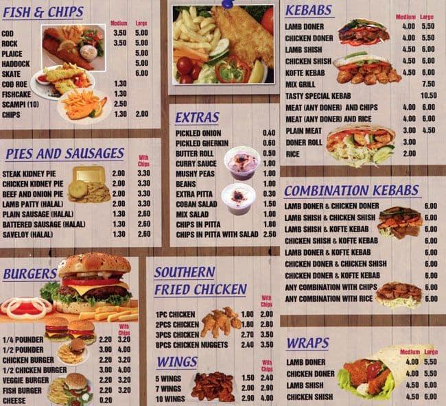 Tasty fish bar menu menu for tasty fish bar leyton for Seven fishes menu