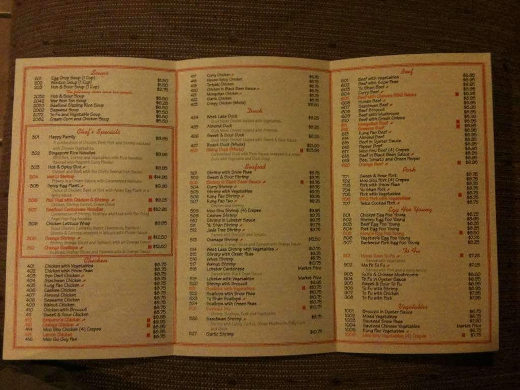 Wong\'s Chinese Cuisine Menu - Urbanspoon/Zomato