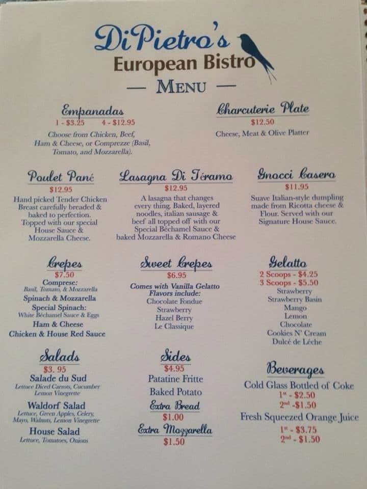 Di Pietro S European Bistro Menu Urbanspoon Zomato