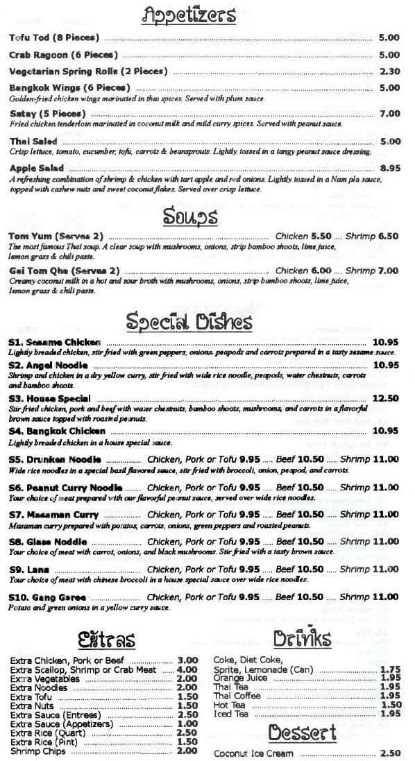 Bangkok Hung Cafe Menu, Menu for Bangkok Hung Cafe