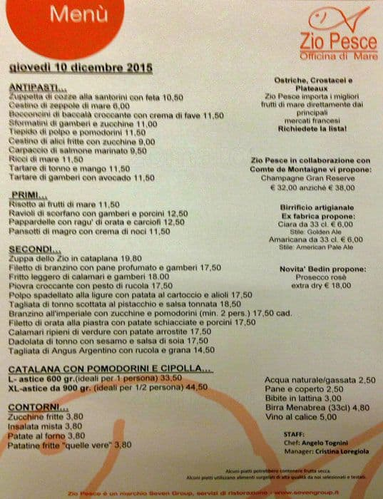 Zio Pesce A Milano Foto Del Menu Con Prezzi Zomato Italia