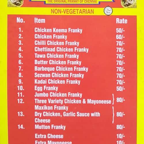 Chennai Franky Menu, Menu for Chennai Franky, Anna Nagar East