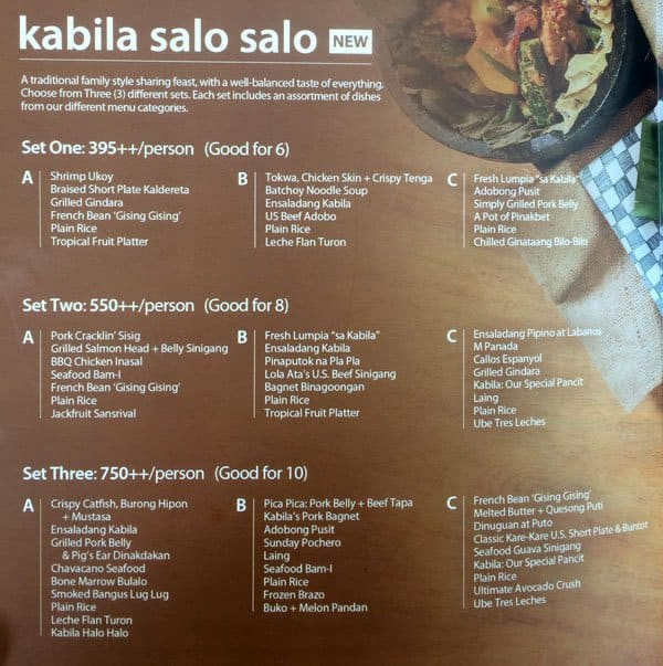 Kabila Filipino Bistro Menu Menu For Kabila Filipino