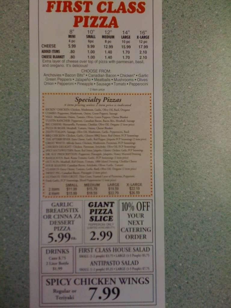 First Class Pizza Menu Menu For First Class Pizza Tustin