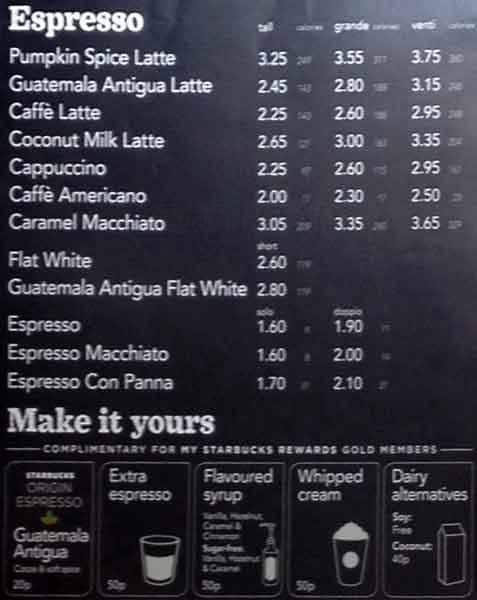 Starbucks Menu Menu For Starbucks Haymarket Edinburgh
