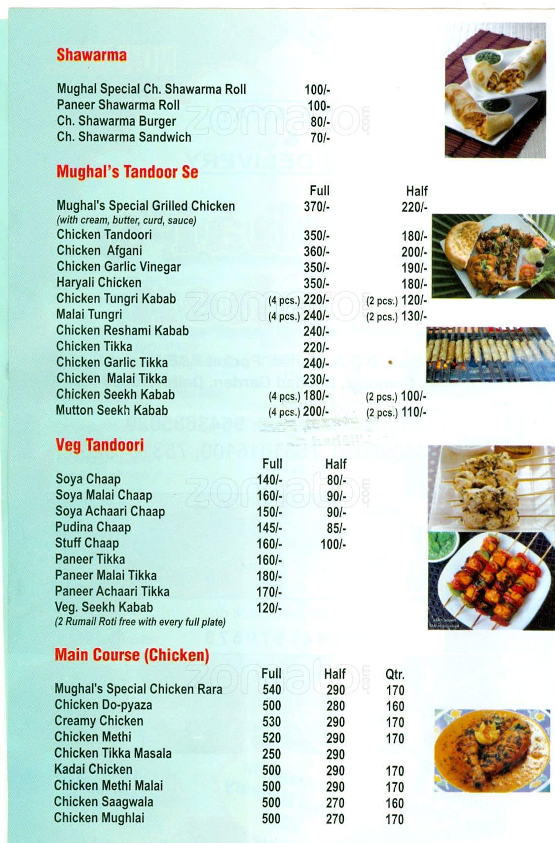 Mughal\'s Kitchen Menu, Menu for Mughal\'s Kitchen, Dilshad Garden ...