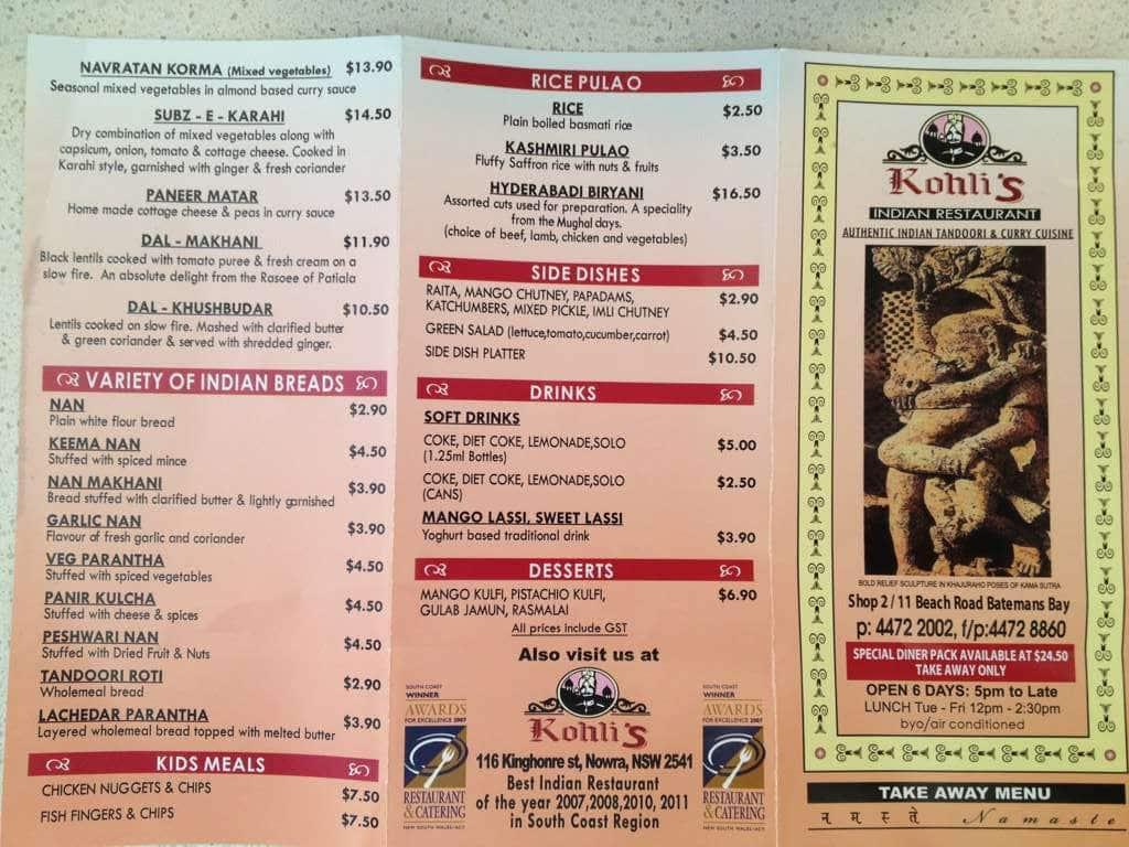 Indian Restaurant Batemans Bay Menu