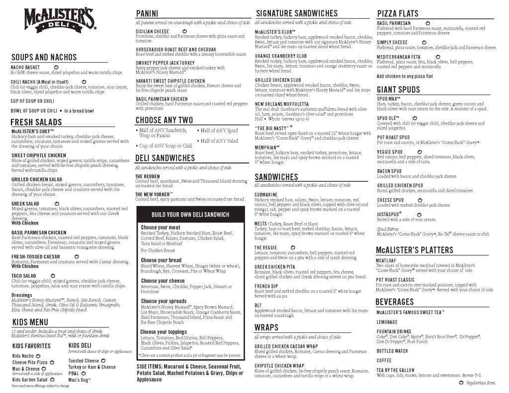 It is an image of Mcalister's Deli Printable Menu for prnt