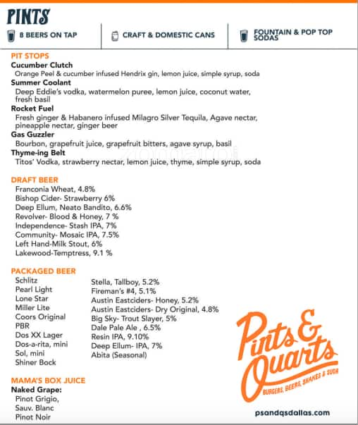 Pints and Quarts Menu, Menu for Pints and Quarts, Lower Greenville ...