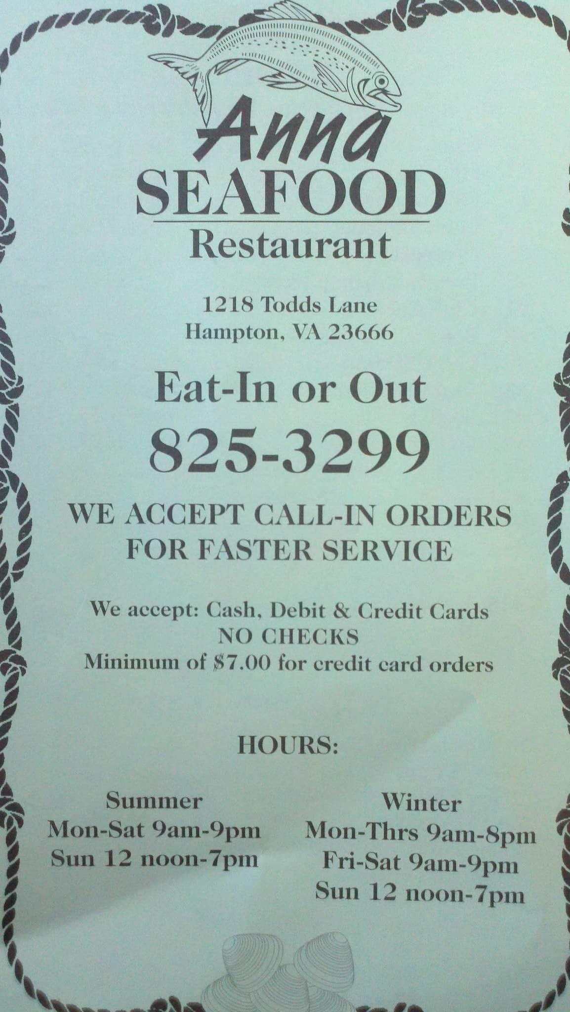 Anna Seafood Menu, Menu for Anna Seafood, Hampton, Hampton Roads ...