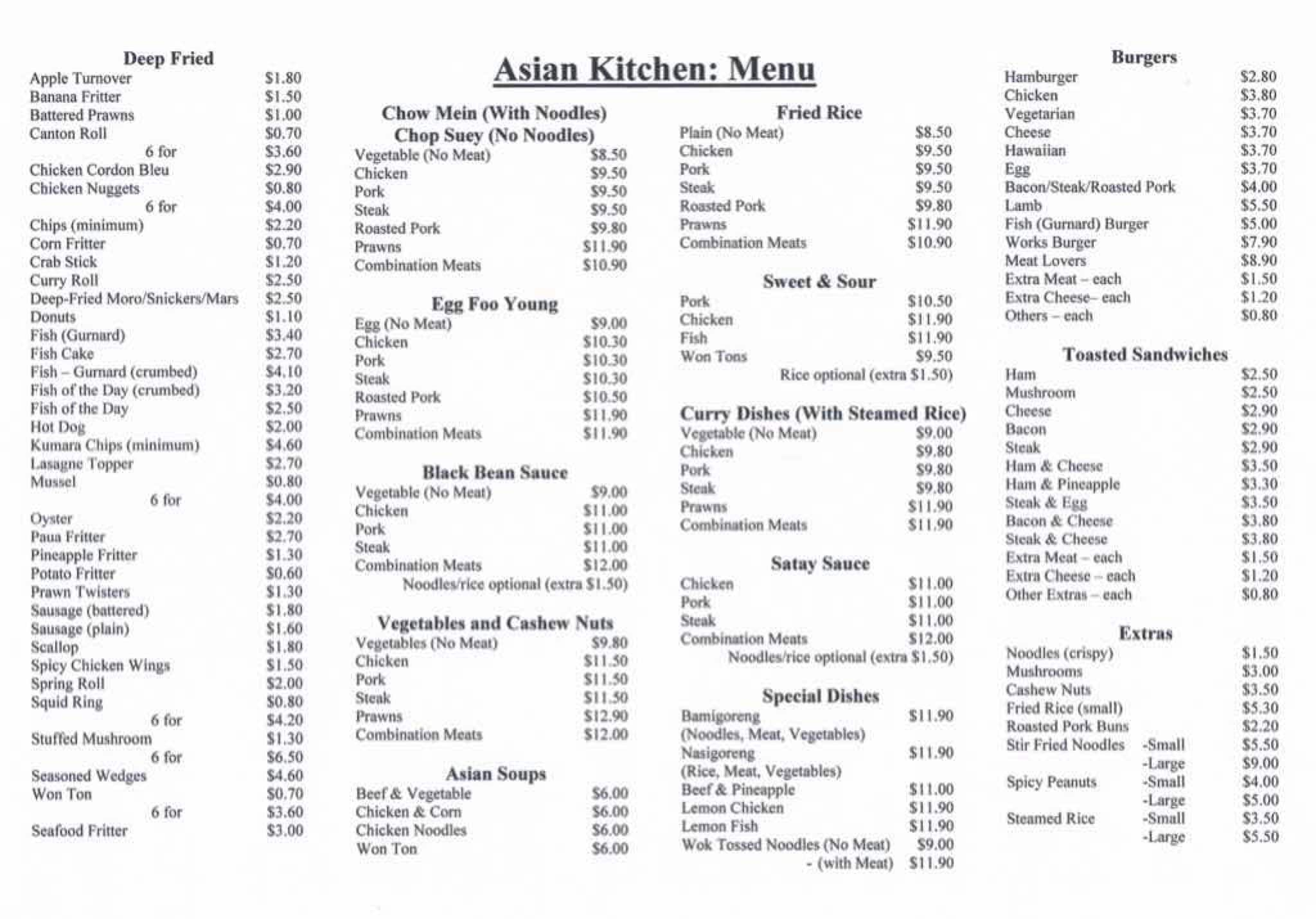 Asian Kitchen Menu, Menu for Asian Kitchen, Forest Lake, Hamilton ...