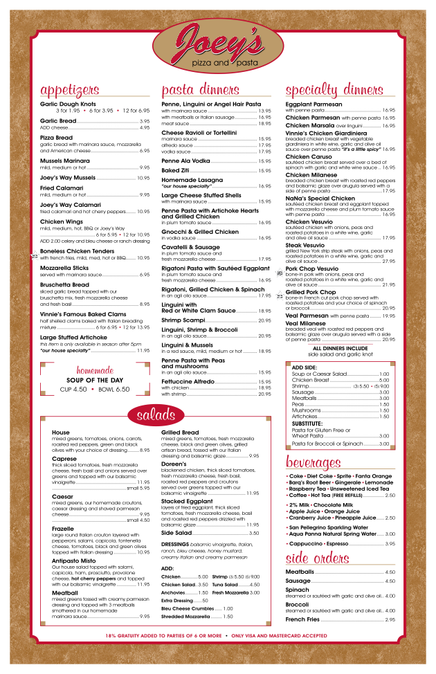 Joey Restaurant Menu Prices