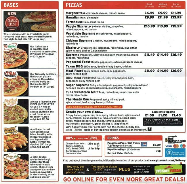 Pizza Hut Delivery Menu, Menu for Pizza Hut Delivery ...