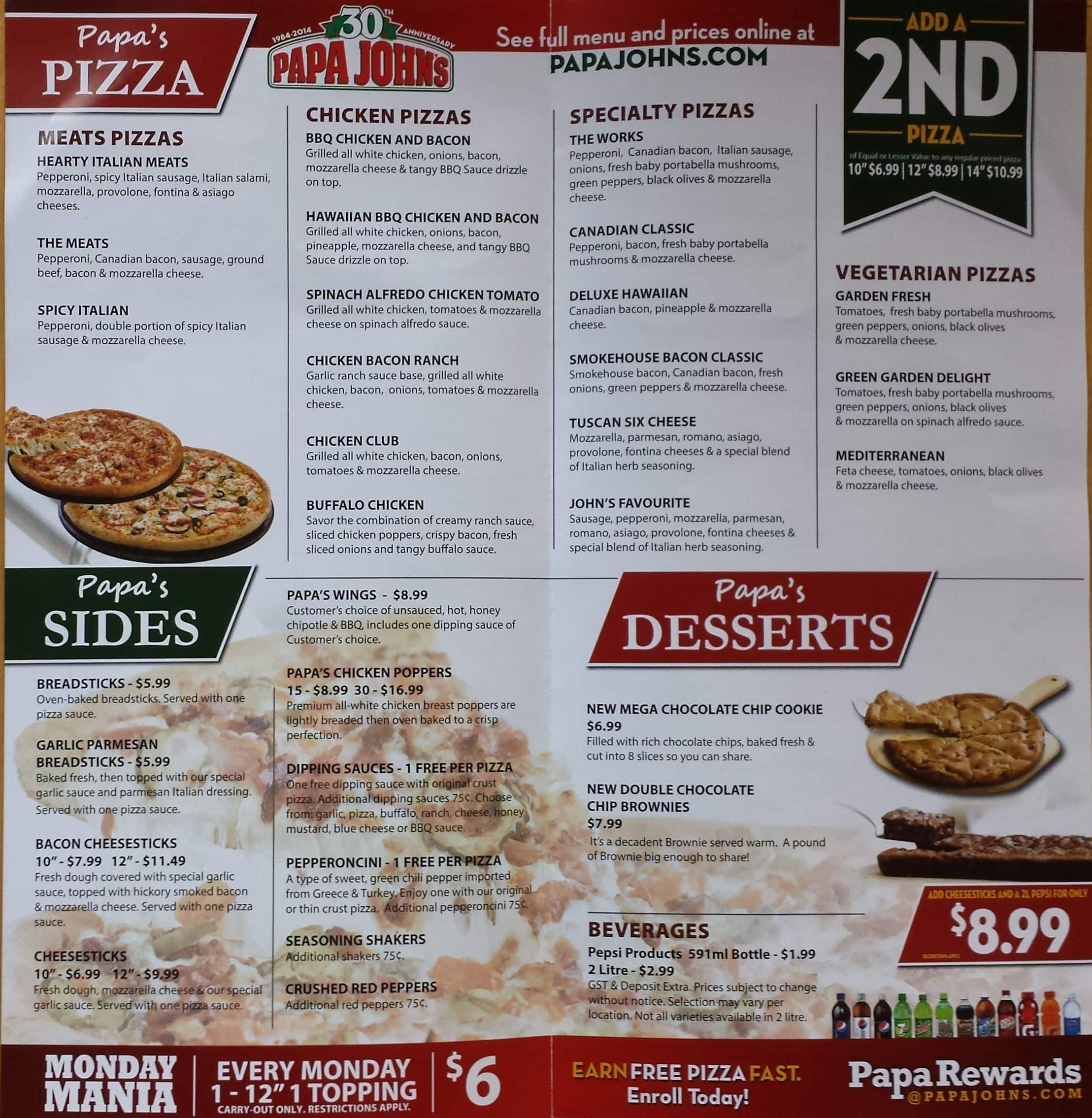 Papa John S Pizza Menu Menu For Papa John S Pizza Cochrane