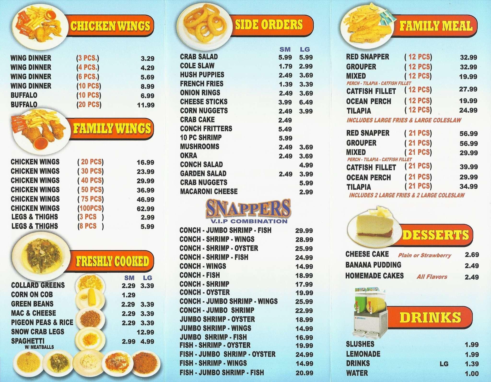 Snappers fish chicken a miami foto del menu con prezzi for Fish and chicken menu