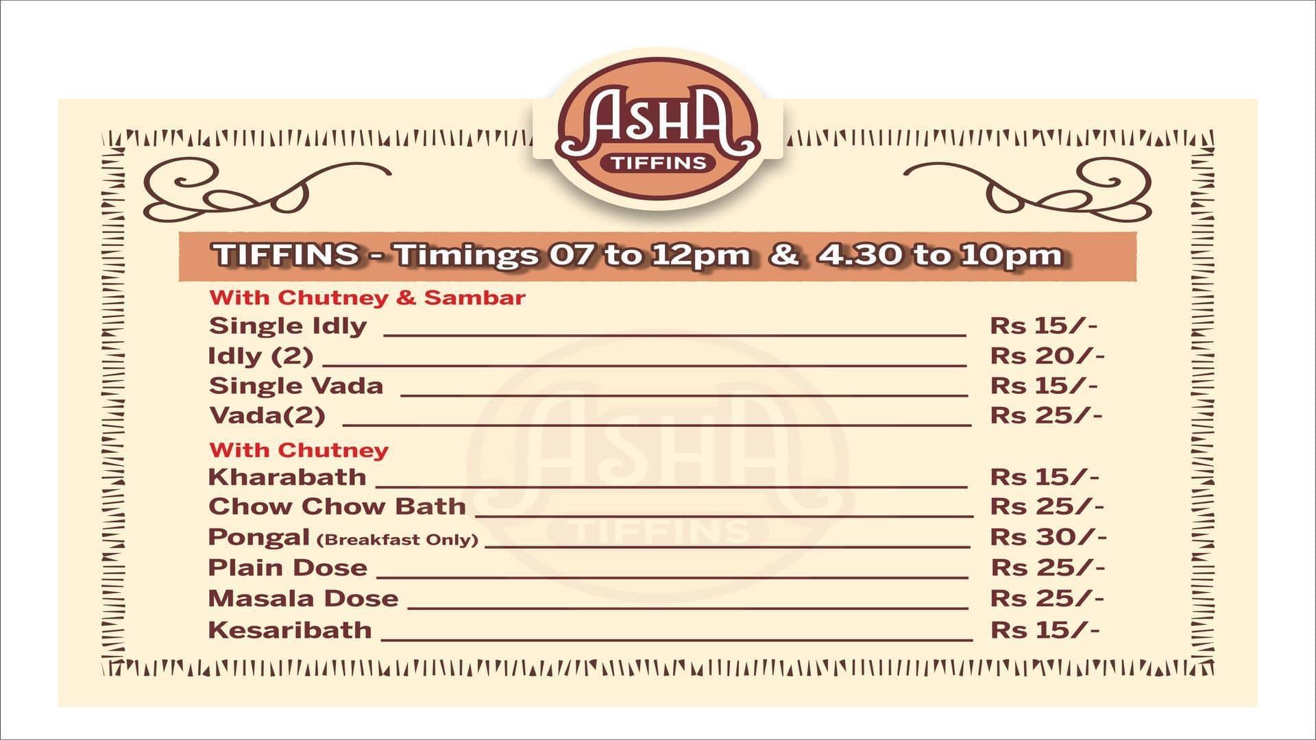 Asha tiffins menu menu for asha tiffins hsr bangalore zomato