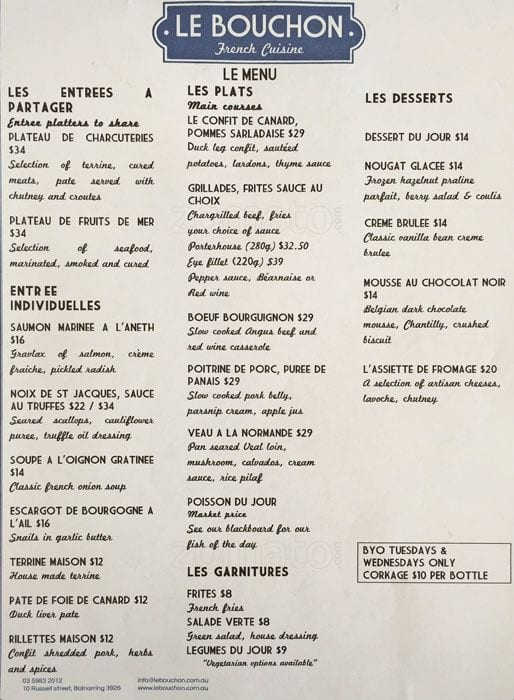 Le Bouchon French Cuisine Menu  UrbanspoonZomato