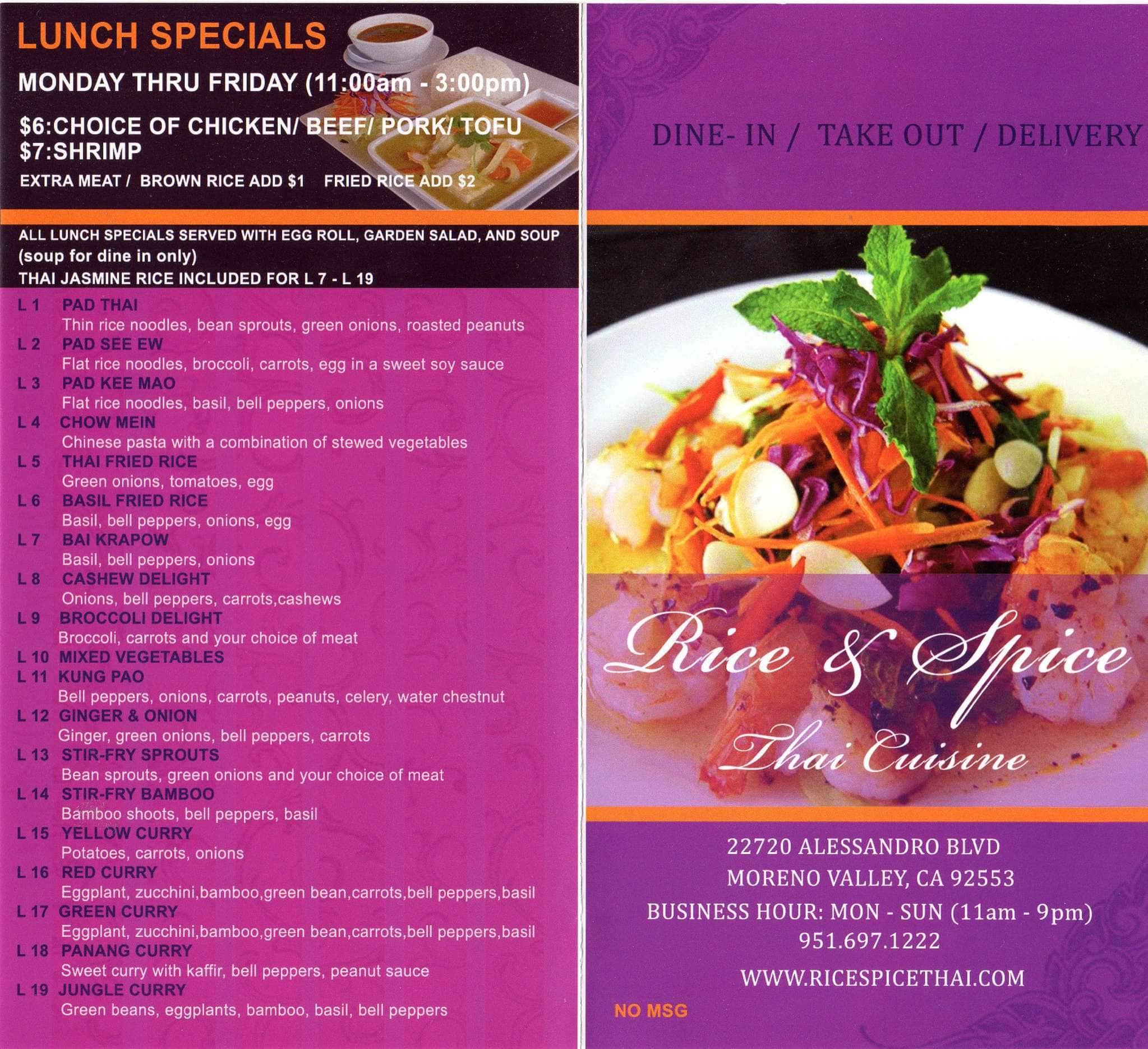 Menu At Rice Spice Thai Cuisine Restaurant Moreno Valley