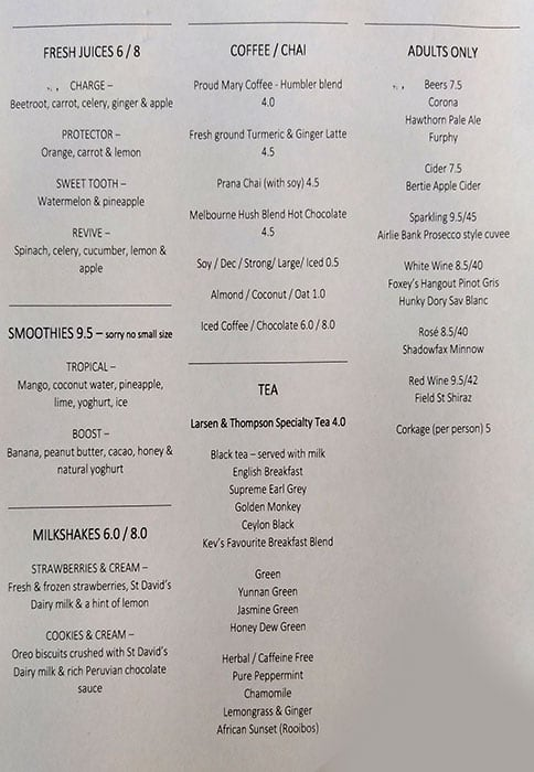 Our Kitchen Table Menu Menu For Our Kitchen Table Malvern East Melbourne