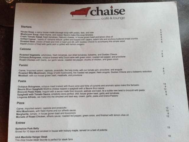 chaise cafe lounge menu menu for chaise cafe lounge st boniface winnipeg urbanspoon zomato