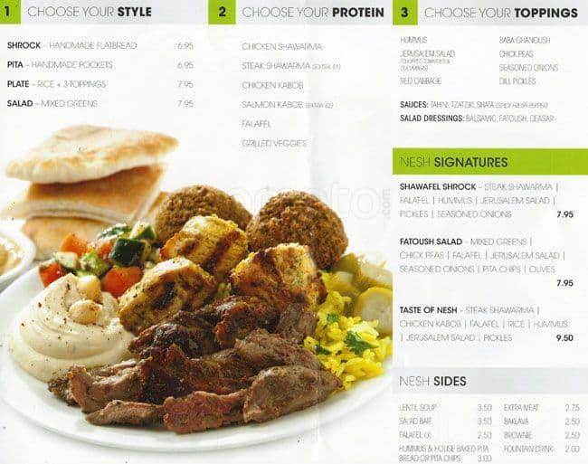 Nesh mediterranean grill menu urbanspoon zomato for Mediterranean restaurant menu