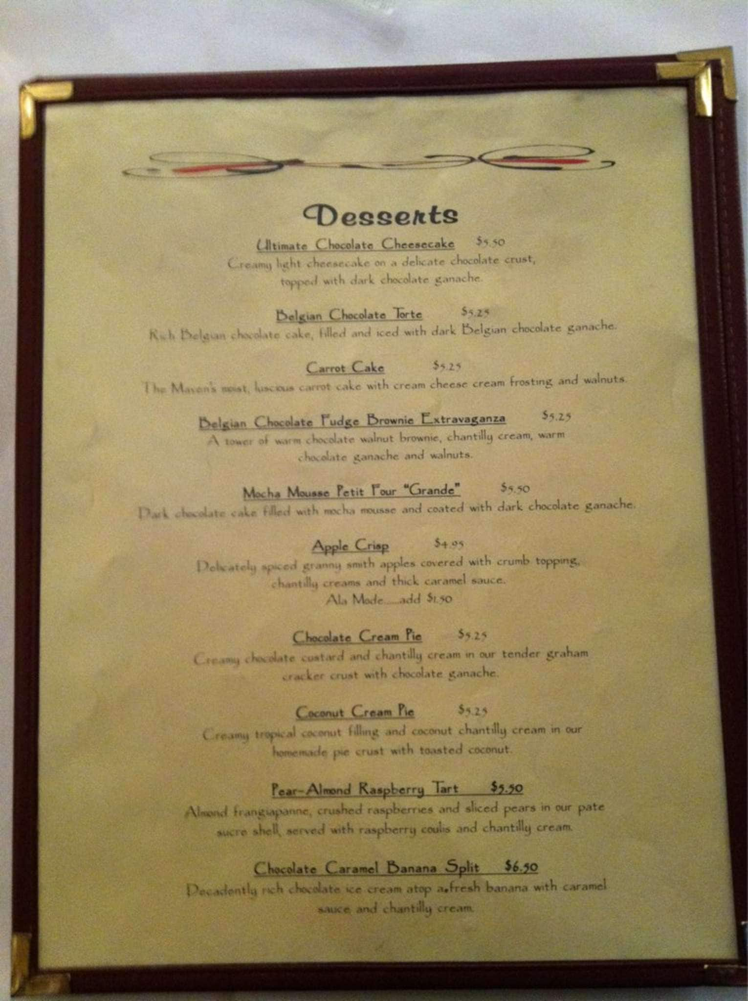 Menu at Chocolate Maven, 821 W San Mateo Rd Ste C - Restaurant prices