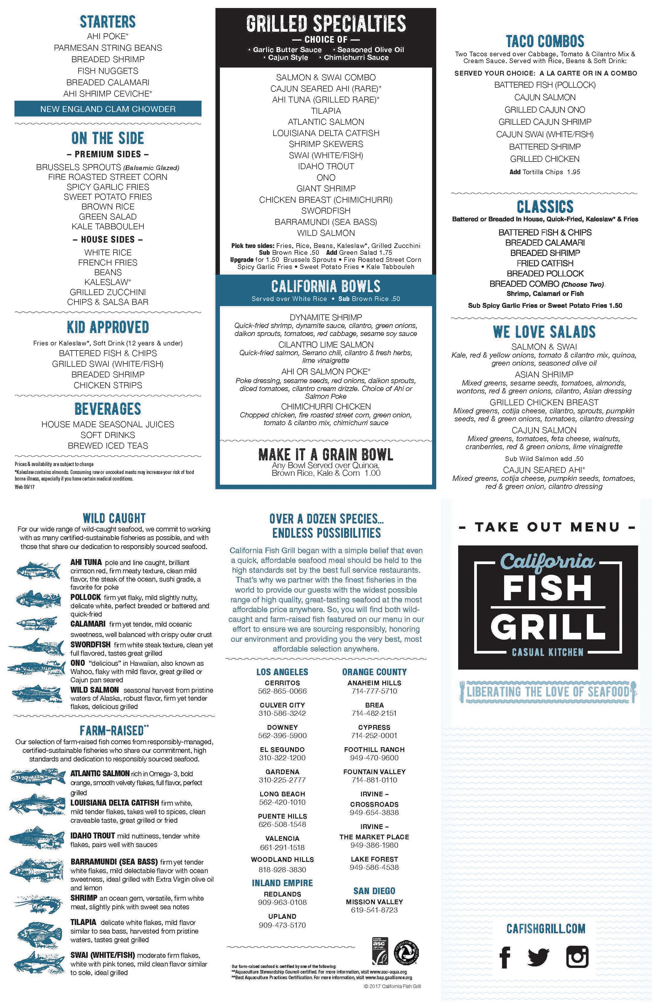 menu at california fish grill restaurant culver city