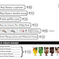 Naturals Ice Cream Menu, Menu for Naturals Ice Cream, RNT Marg