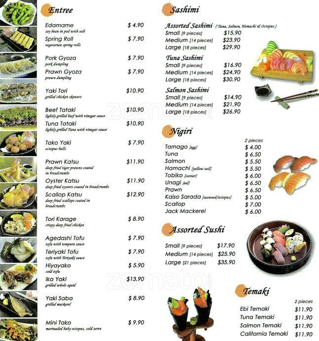 Japanese restaurant menu items for Asian cuisine information