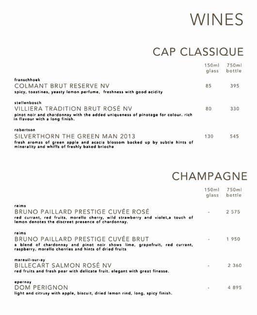 6985cf569e Bascule Bar - Hotel Cape Grace, V & A Waterfront Menü