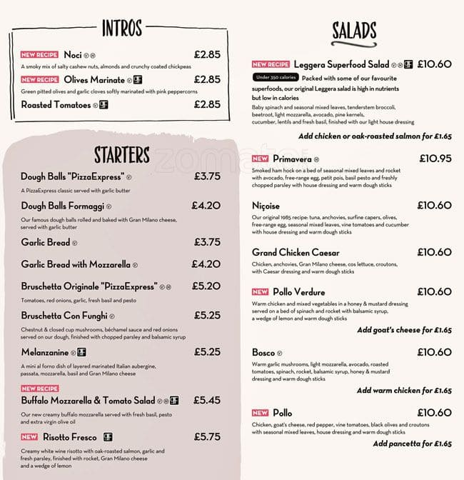 Pizza Express Menu Menu For Pizza Express Kew London