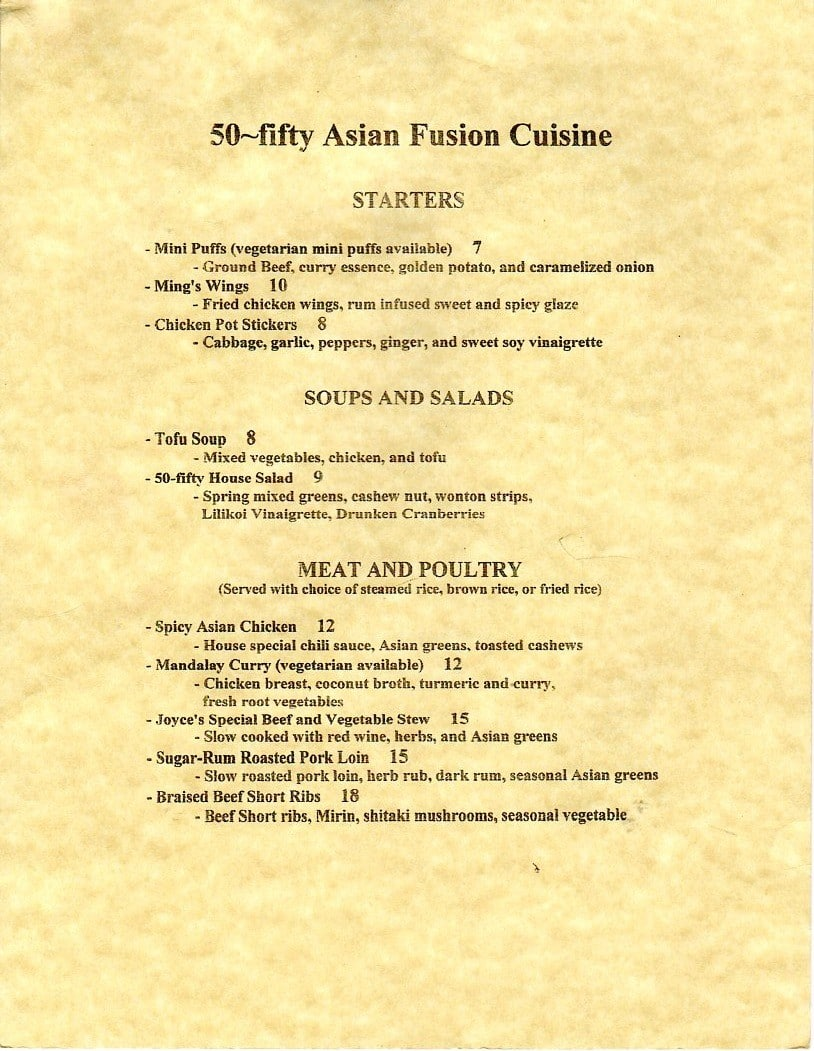 50 fifty asian fusion cuisine menu urbanspoon zomato for 50 fifty asian fusion cuisine