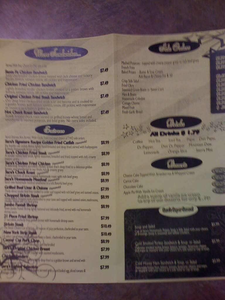 Sara S Restaurant Menu Menu For Sara S Restaurant Del City