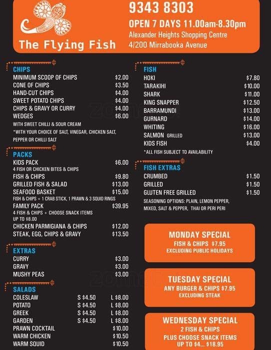 The flying fish menu menu restauracji the flying fish for The flying fish menu