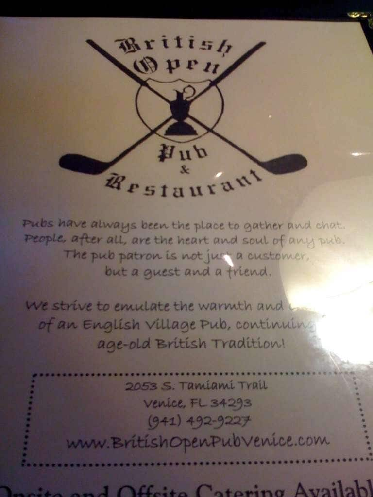 british open pub menu  menu restauracji british open pub
