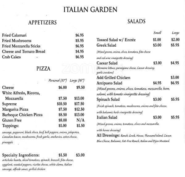 Italian Garden Menu Menu For Italian Garden San Marcos San Marcos