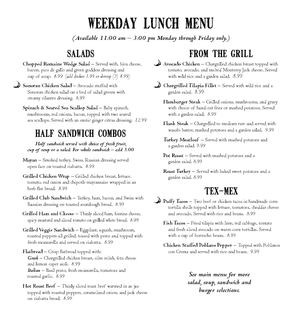 Scenic Loop Cafe Lunch Menu