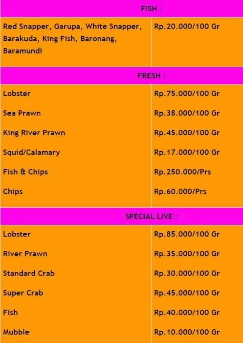 jimbaran bay seafood menu menu for jimbaran bay seafood jimbaran rh zomato com