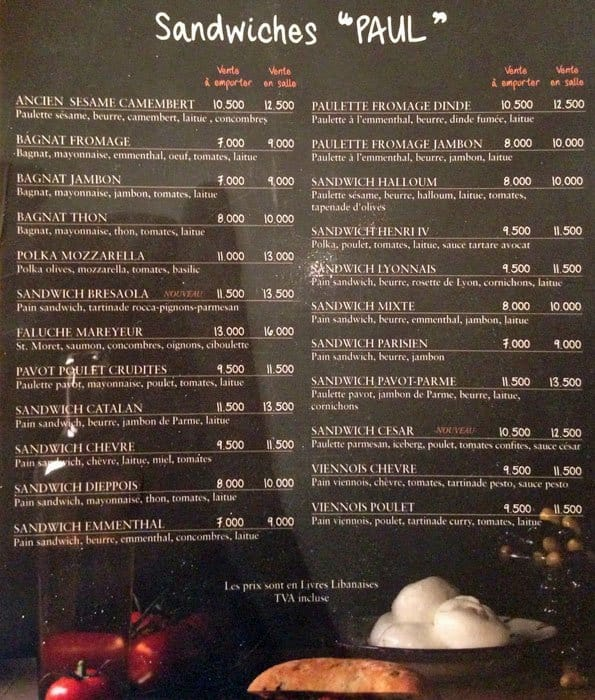 La Rose Cafe Menu