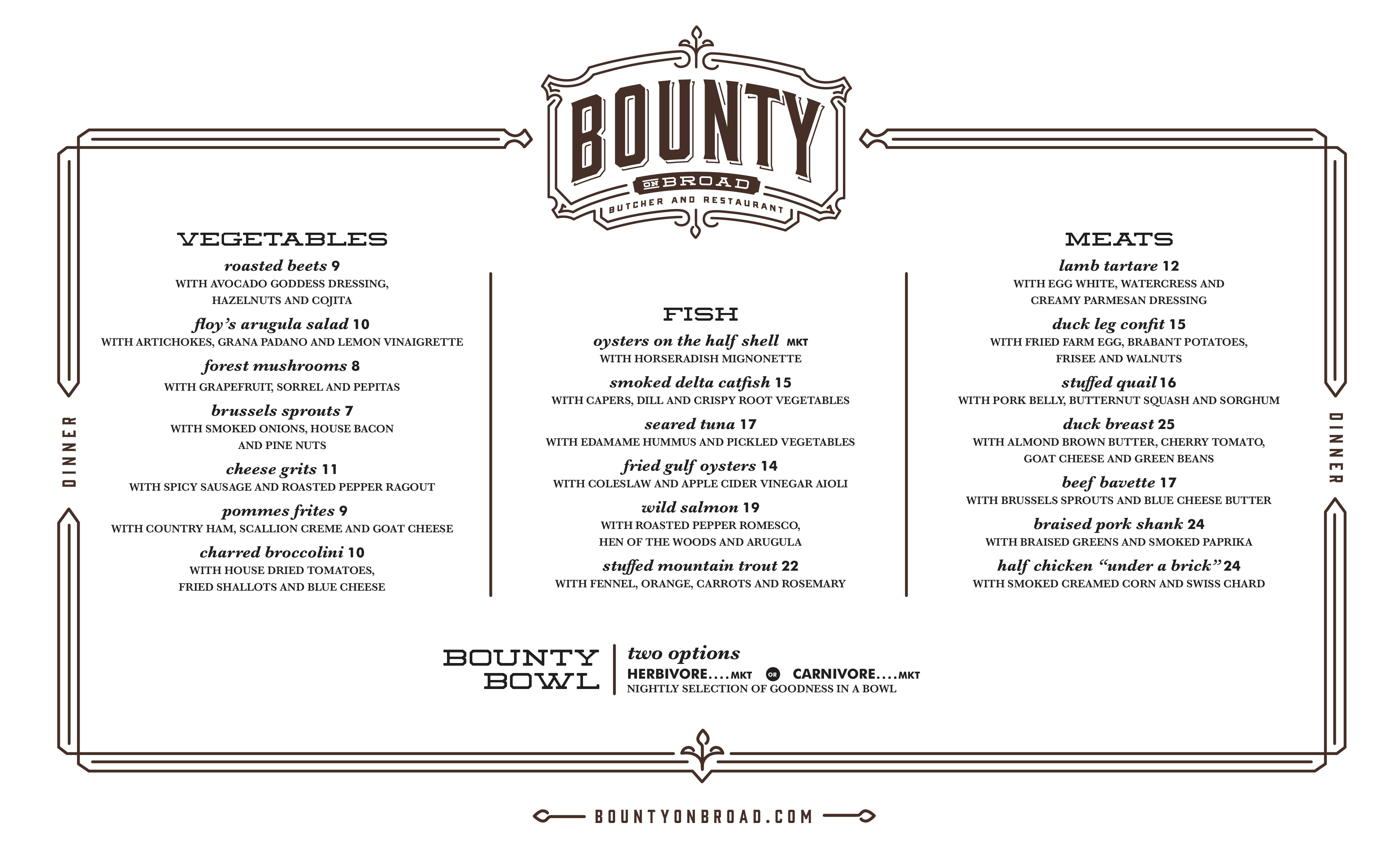 Bounty Restaurant Memphis Menu