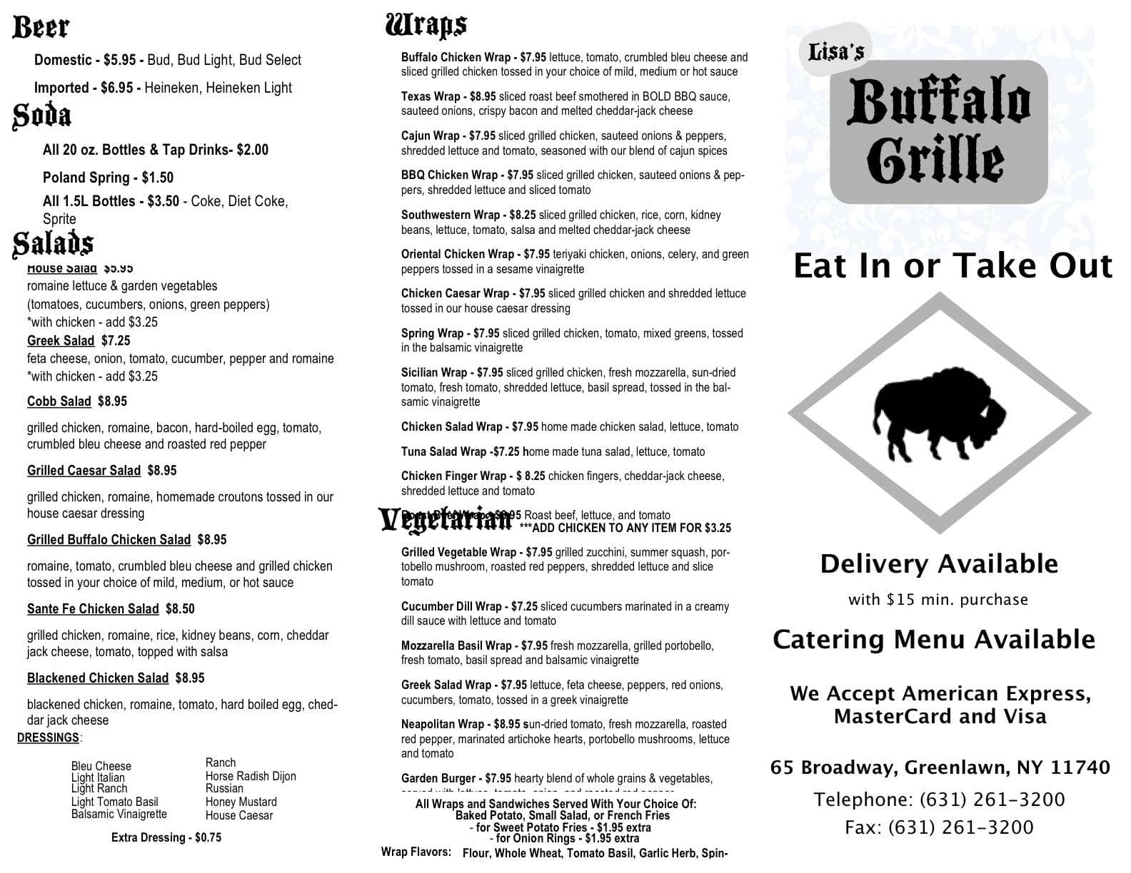 Buffalo grille llc menu menu untuk buffalo grille llc greenlawn long island urbanspoon zomato - Menu buffalo grill tarif ...