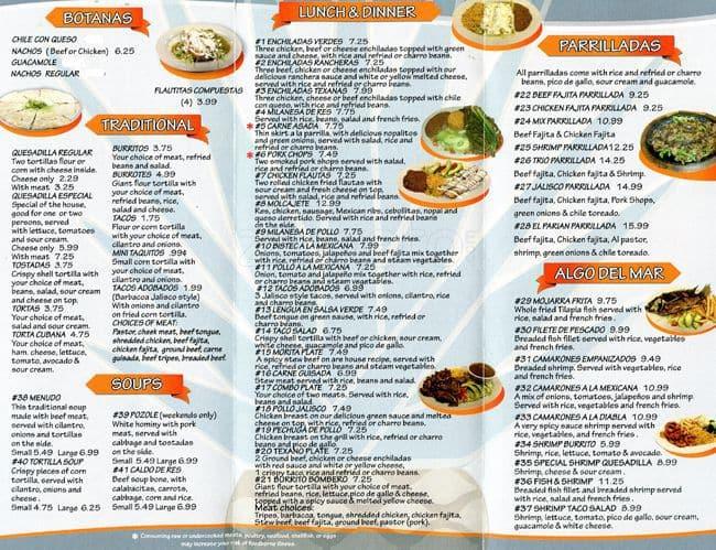 El Parian Mexican Restaurant Menu