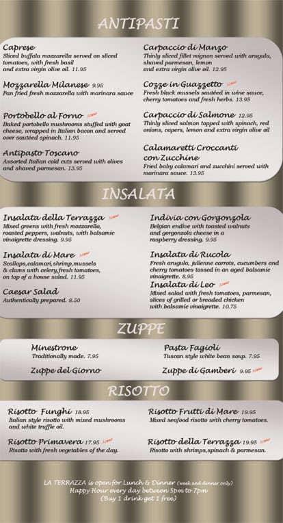 La Terrazza Restaurant Bar Menu Urbanspoon Zomato
