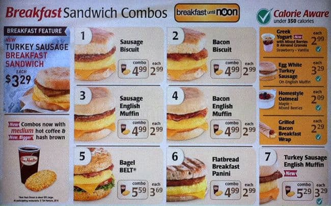 tim hortons breakfast menu