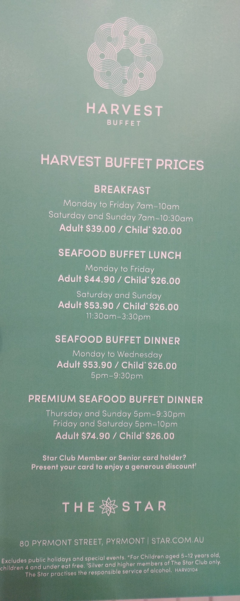 Star casino sydney harvest buffet all you can eat