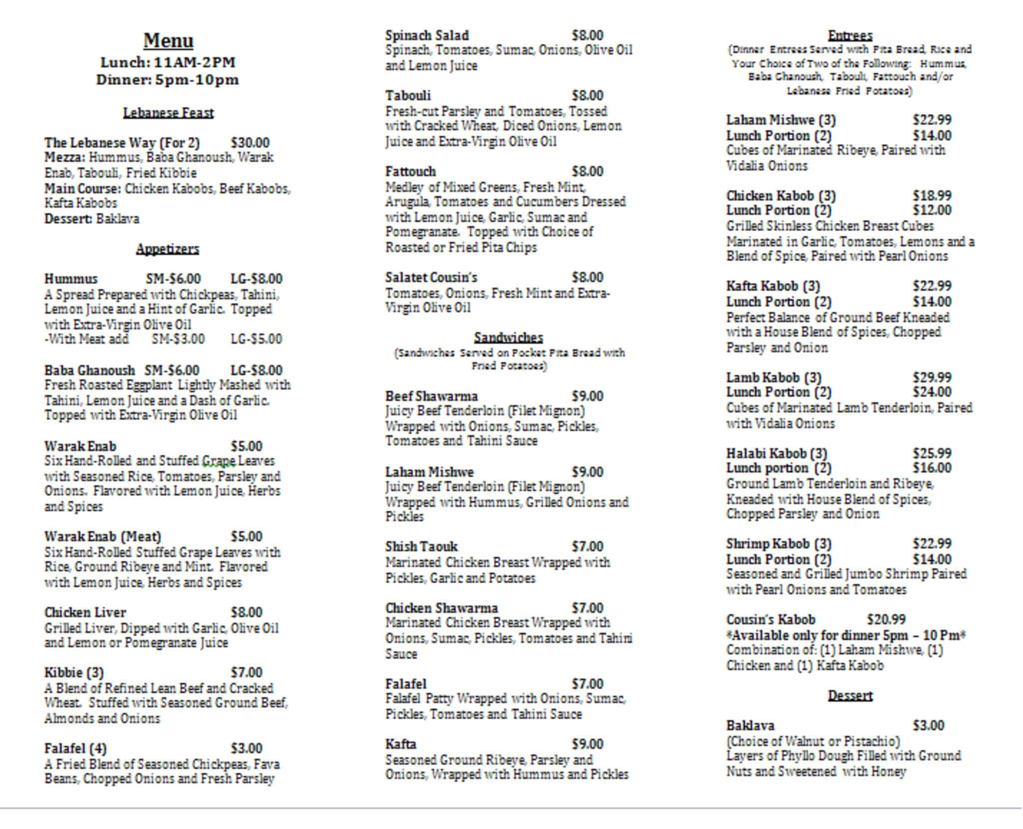 Lebanese cuisine menu for Arabic cuisine names